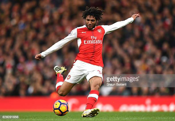 Mohamed Elneny of Arsenal in action during the Premier League match between Arsenal and AFC Bournemouth at Emirates Stadium on November 27 2016 in...