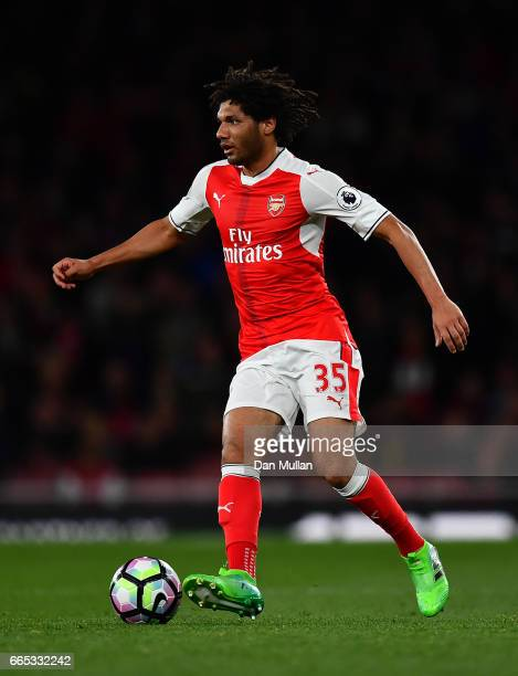Mohamed Elneny of Arsenal looks for a pass during the Premier League match between Arsenal and West Ham United at Emirates Stadium on April 5 2017 in...