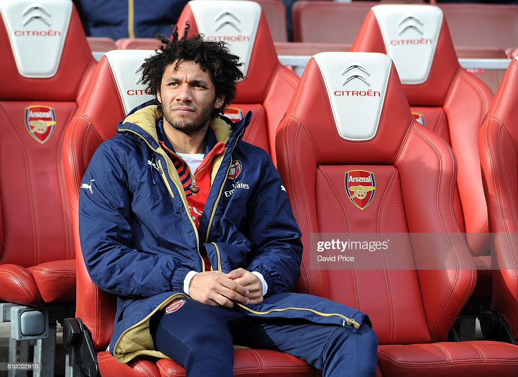 <a gi-track='captionPersonalityLinkClicked' href=/galleries/search?phrase=Mohamed+Elneny&family=editorial&specificpeople=10538678 ng-click='$event.stopPropagation()'>Mohamed Elneny</a> of Arsenal on the subs bench before the Barclays Premier League match between Arsenal and Leicester City at Emirates Stadium on February 14th, 2016 in London, England