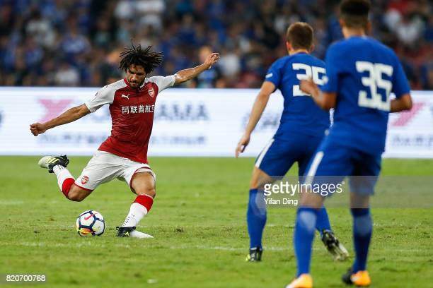 Mohamed Elneny of Arsenal reacts during the PreSeason Friendly match between Arsenal FC and Chelsea FC at Birds Nest on July 22 2017 in Beijing China