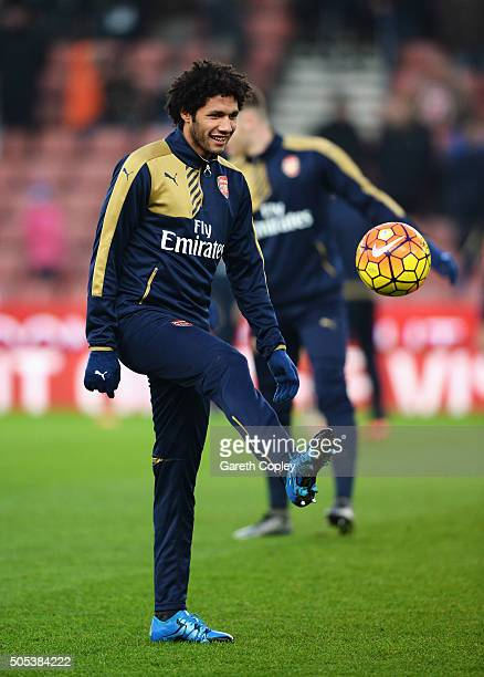 Mohamed Elneny of Arsenal warms up prior to the Barclays Premier League match between Stoke City and Arsenal at Britannia Stadium on January 17 2016...