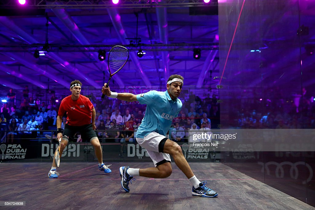 Mohamed Elshorbagy of Egypt competes against Cameron Pilley of Australia during day four of the PSA Dubai World Series Finals 2016 at Burj Park on May 27, 2016 in Dubai, United Arab Emirates.