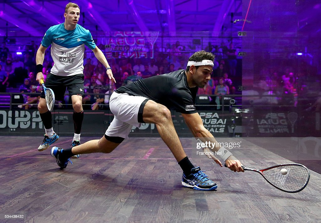 Mohamed Elshorbagy of Egypt competes against <a gi-track='captionPersonalityLinkClicked' href=/galleries/search?phrase=Nick+Matthew&family=editorial&specificpeople=799585 ng-click='$event.stopPropagation()'>Nick Matthew</a> of England during day three of the PSA Dubai World Series Finals 2016 at Burj Park on May 26, 2016 in Dubai, United Arab Emirates.