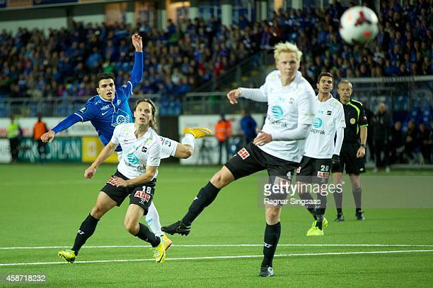 Mohamed Elyounoussi of Molde FK tries to score during the Tippeligaen match between Molde FK and Odd Grenland on November 9 2014 in Molde Norway