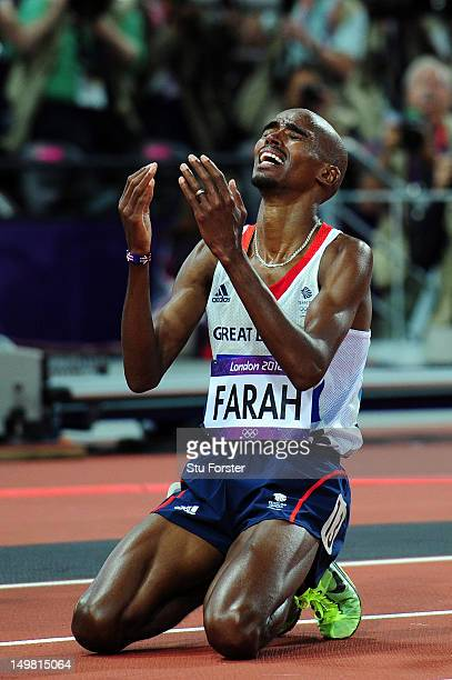 Mohamed Farah of Great Britain celebrates winning gold in Men's 10000m Final on Day 8 of the London 2012 Olympic Games at Olympic Stadium on August 4...