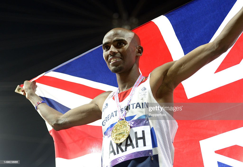 Mohamed Farah of Great Britain celebrates winning gold in the Men's 10,000m Final on Day 8 of the London 2012 Olympic Games at Olympic Stadium on August 4, 2012 in London, England.