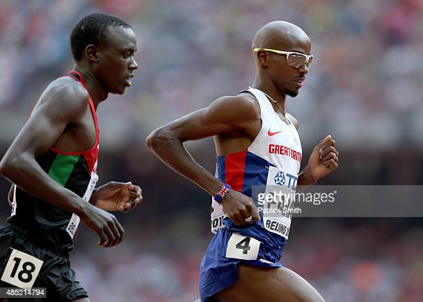 Mohamed Farah of Great Britain competes in the Men's 5000 metres heats during day five of the 15th IAAF World Athletics Championships Beijing 2015 at...