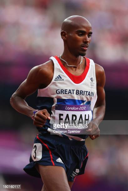 Mohamed Farah of Great Britain competes in the Men's 5000m Final on Day 15 of the London 2012 Olympic Games at Olympic Stadium on August 11 2012 in...