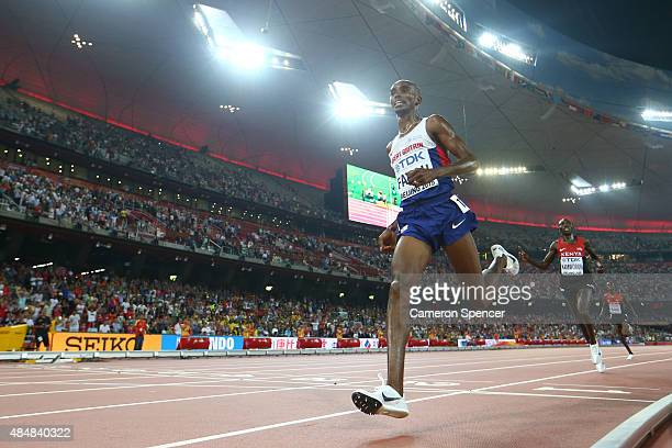 Mohamed Farah of Great Britain crosses the finish line to win gold in the Men's 10000 metres final during day one of the 15th IAAF World Athletics...