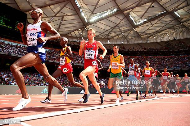 Mohamed Farah of Great Britain leads the pack in the Men's 5000 metres heats during day five of the 15th IAAF World Athletics Championships Beijing...