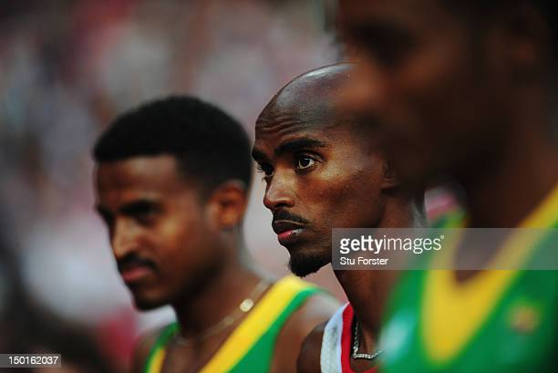 Mohamed Farah of Great Britain looks on before competing in the Men's 5000m Final on Day 15 of the London 2012 Olympic Games at Olympic Stadium on...
