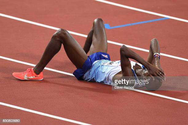 Mohamed Farah of Great Britain reacts after finishing second in the Men's 5000 Metres final during day nine of the 16th IAAF World Athletics...