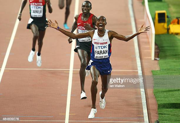 Mohamed Farah of Great Britain wins gold in the Men's 10000 metres final during day one of the 15th IAAF World Athletics Championships Beijing 2015...