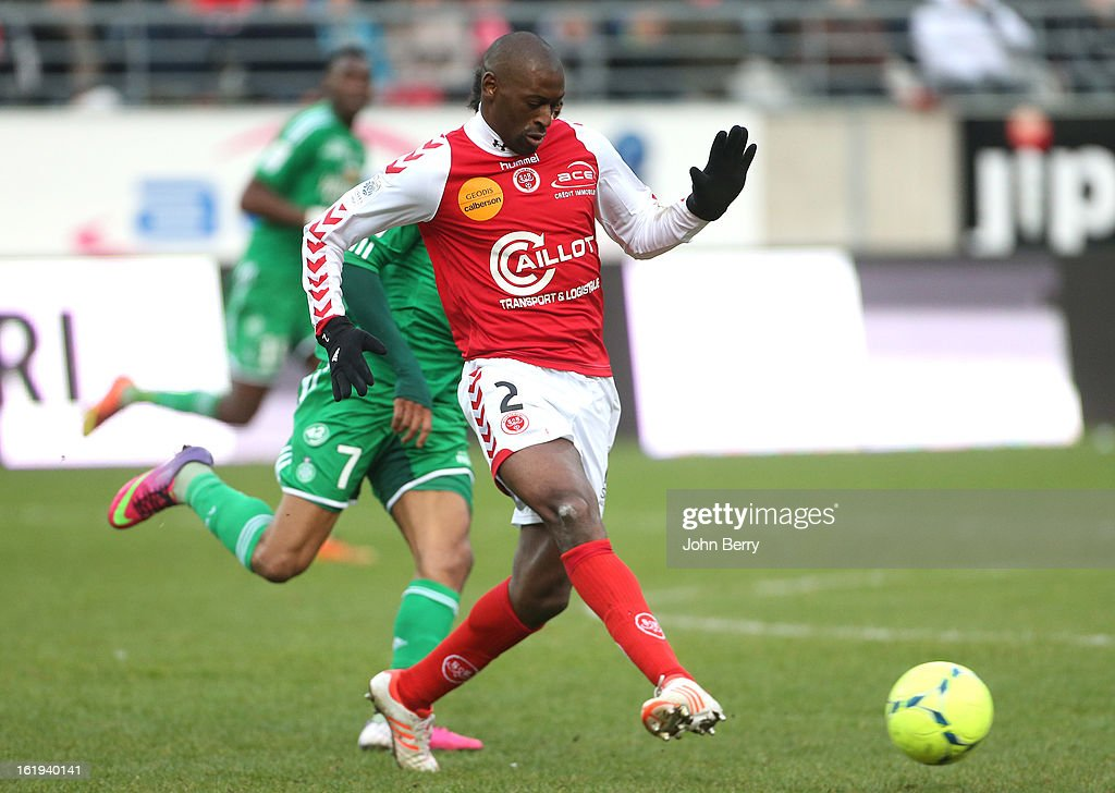Mohamed Fofana of Reims in action during the french Ligue 1 match between Stade de Reims and AS Saint-Etienne at the Stade Auguste Delaune on February 17, 2013 in Reims, France.