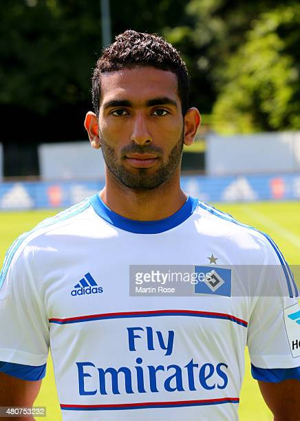 Mohamed Gouaida of Hamburger SV poses during the team presentation of Hamburger SV at Volksparkstadion on July 15 2015 in Hamburg Germany