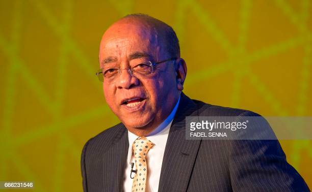 Mohamed Ibrahim a SudaneseBritish mobile communications entrepreneur and billionaire attends the 'Mo Ibrahim Foundation' event in the Moroccan city...