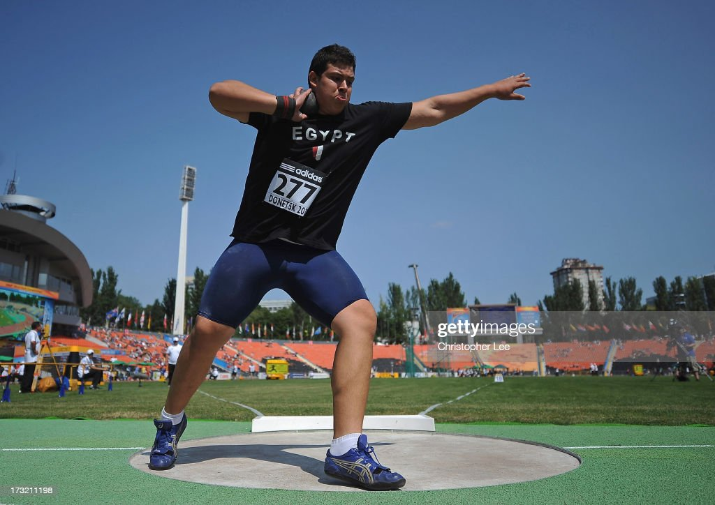 Mohamed Magdi Hamza of Egypt competes in the Boys 5kg Shot Put Qualification during Day 1 of the IAAF World Youth Championships at the RSC Olimpiyskiy Stadium on July 10, 2013 in Donetsk, Ukraine.
