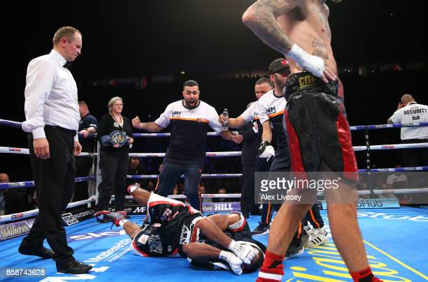 Mohamed Mimoune celebrates with his cornermen after victory over Sam Eggington in the EBU Welterweight Championship fight at Manchester Arena on...