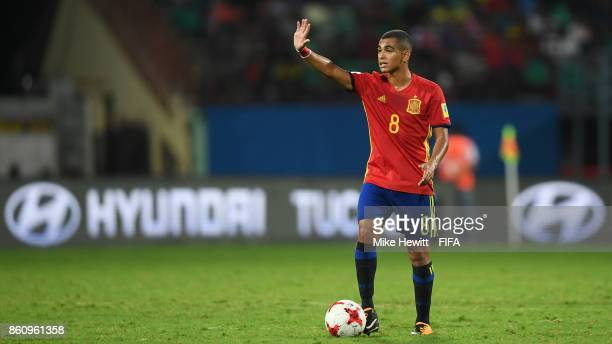 Mohamed Moukhliss of Spain in Guinea coach Souleymane Camaration during the FIFA U17 World Cup India 2017 group D match between Spain and Korea DPR...