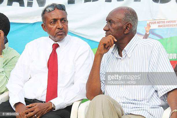 Mohamed Moussa Ahmed independent candidate and Hassan Idriss Ahmed also an independent candidate attend on April 1 2016 in the Djibouti's suburb of...