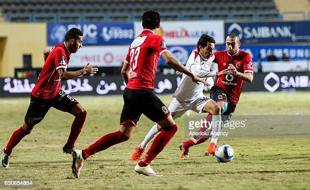 Mohamed Naguib of Al Ahly in action against Aymen Hanefy of Zamalek during the Egypt Premier League match between Al Ahly and Zamalek at the Petro...
