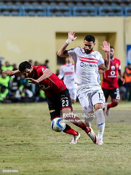 Mohamed Naguib of Al Ahly in action against Bassem Morsey of Zamalek during the Egypt Premier League match between Al Ahly and Zamalek at the Petro...
