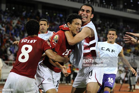 Mohamed Nagy of Egypt celebrates after scoring a goal during their final match of the African Cup of Nations CAN2010 against Ghana at the November 11...