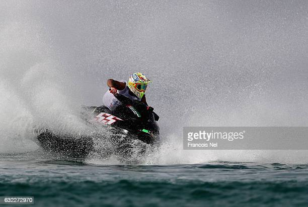 Mohamed Naser Al Mansouri of UAE race in the Pro Runabout GP during the Dubai Waterbike Championship at Jumeirah Beach on January 21 2017 in Dubai...