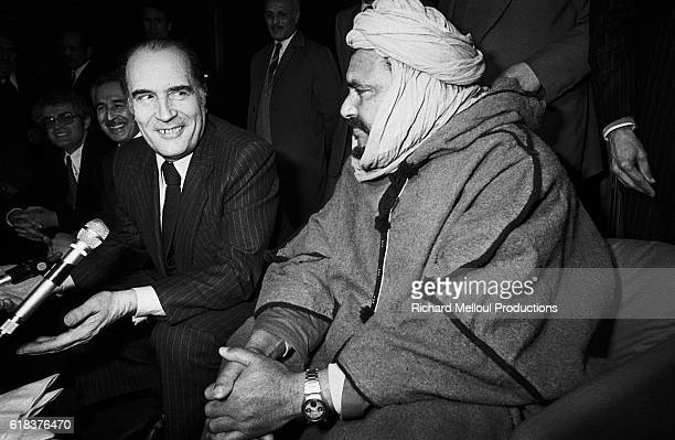 Mohamed Ould Ziou leader of the Sahrawi national council meets with French Socialist leader Francois Mitterrand in Algiers to announce the formation...