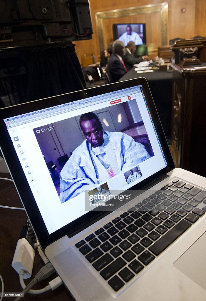 Mohamed Quid Mahmoud, of the Lobbying Network for Peace, Security, and Development for Northern Mali, testifies via Google Hangout from Bamako, Mali, during a Senate Foreign Relations Subcommittee on African Affairs hearing in Dirksen about how al Qaeda is taking over in the region.