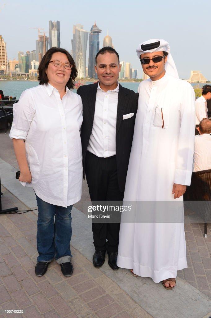 Mohamed Sadek (C) and Doha Film Institute CEO Abdulaziz Bin Khalid Al-Khater attend the Arab Guests Lunch during the 2012 Doha Tribeca Film Festival at the Al Mourjan Restaurant on November 20, 2012 in Doha, Qatar.
