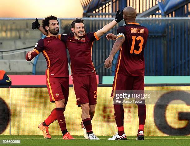 Mohamed Salah Alessandro Florenzi and Douglas Maicon celebrates the second goal of AS Roma during the Serie A match between AC Chievo Verona and AS...