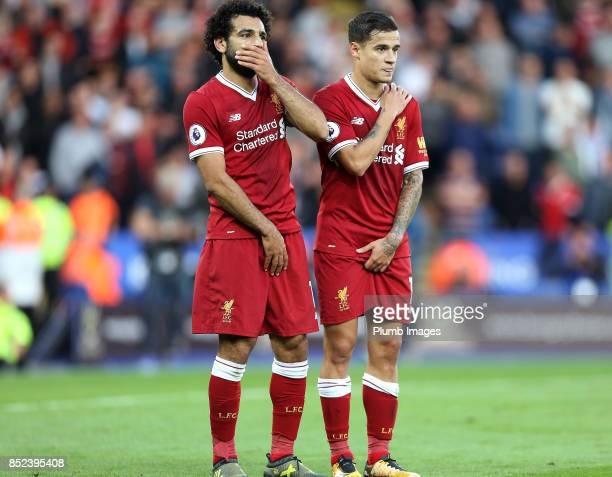 Mohamed Salah and Phillipe Coutinho of Liverpool form a wall during the Premier League match between Leicester City and Liverpool at King Power...