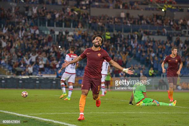Mohamed Salah celebrates after scoring a goal during the Serie A match between AS Roma and FC Crotone at Stadio Olimpico on September 21 2016 in Rome...