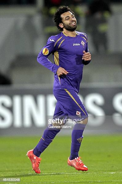 Mohamed Salah of ACF Fiorentina celebrates after scoring a goal during the UEFA Europa League Round of 32 match between ACF Fiorentina and Tottenham...