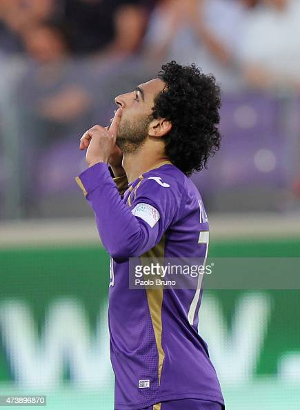Mohamed Salah of ACF Fiorentina celebrates after scoring the team's third goal during the Serie A match between ACF Fiorentina and Parma FC at Stadio...