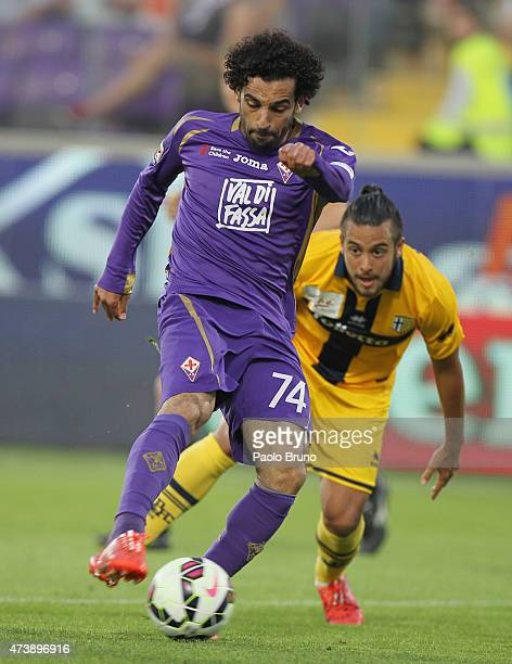 Mohamed Salah of ACF Fiorentina scores the team's third goal during the Serie A match between ACF Fiorentina and Parma FC at Stadio Artemio Franchi...