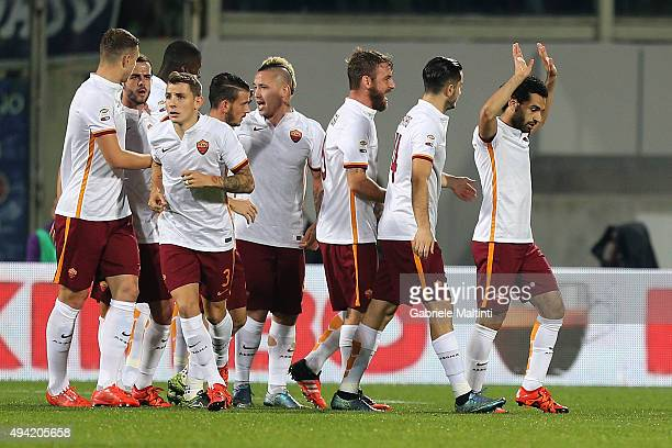 Mohamed Salah of AS Roma celebrates after scoring a goal during the Serie A match between ACF Fiorentina and AS Roma at Stadio Artemio Franchi on...
