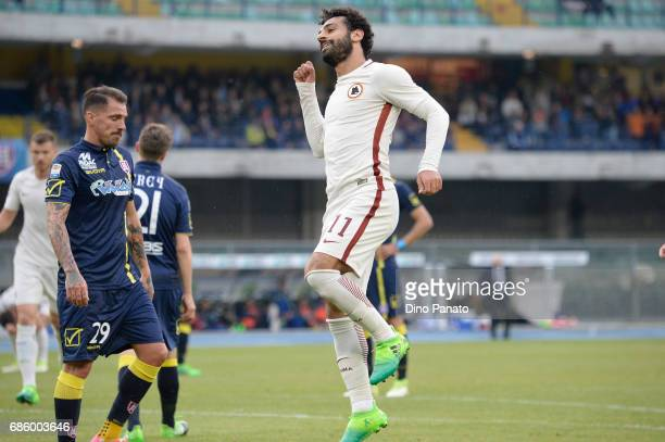 Mohamed Salah of AS Roma celebrates after scoring his team's fourth goal during the Serie A match between AC ChievoVerona and AS Roma at Stadio...