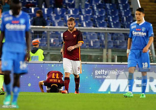 Mohamed Salah of AS Roma celebrates after scoring the team's third goal during the Serie A match between AS Roma and Empoli FC at Stadio Olimpico on...