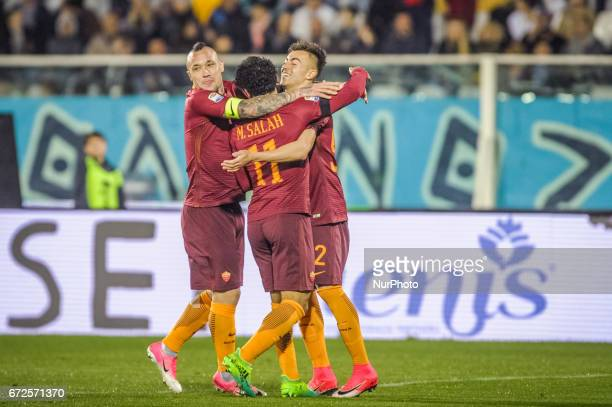 Mohamed Salah of AS Roma celebrates with El Shaarawy Stephan and Nainggolan Radja after scoring the goal 03 during the Serie A match between Pescara...