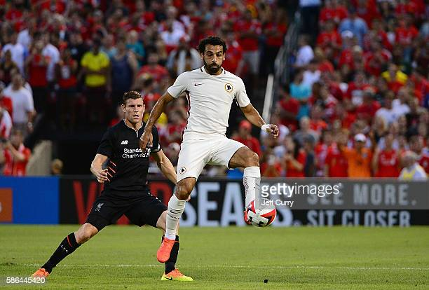 Mohamed Salah of AS Roma handles the ball against Liverpool FC during a friendly match at Busch Stadium on August 1 2016 in St Louis Missouri AC Roma...