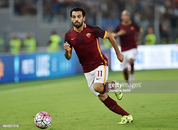 Mohamed Salah of AS Roma in action during the preseason friendly match between AS Roma and Sevilla FC at Olimpico Stadium on August 14 2015 in Rome...