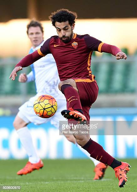 Mohamed Salah of AS Roma in action during the Serie A match between AC Chievo Verona and AS Roma at Stadio Marc'Antonio Bentegodi on January 6 2016...