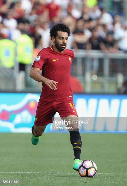 Mohamed Salah of AS Roma in action during the Serie A match between AS Roma and Genoa CFC at Stadio Olimpico on May 28 2017 in Rome Italy