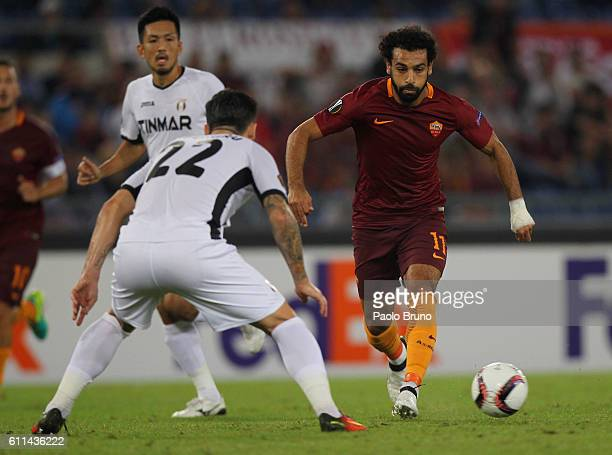 Mohamed Salah of AS Roma in action during the UEFA Europa League match between AS Roma and FC Astra Giurgiu at Olimpico Stadium on September 29 2016...
