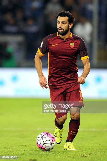Mohamed Salah of AS Roma in actionduring the Serie A match between UC Sampdoria and AS Roma at Stadio Luigi Ferraris on September 23 2015 in Genoa...