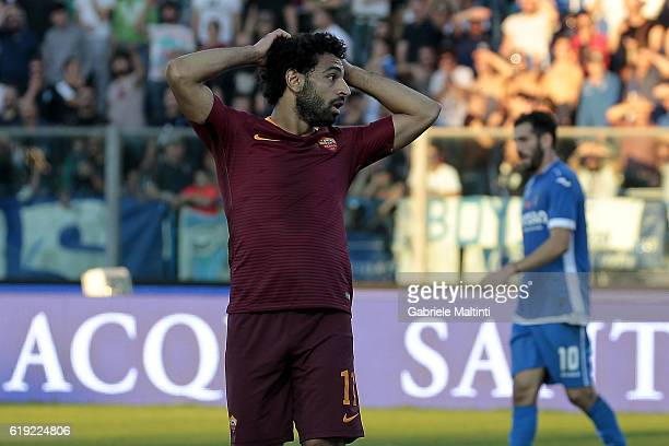 Mohamed Salah of AS Roma reacts during the Serie A match between Empoli FC and AS Roma at Stadio Carlo Castellani on October 30 2016 in Empoli Italy