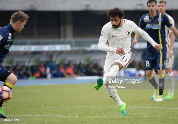 Mohamed Salah of AS Roma scores his team's fourth goal during the Serie A match between AC ChievoVerona and AS Roma at Stadio Marc'Antonio Bentegodi...
