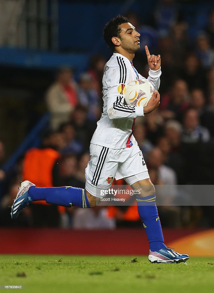 Mohamed Salah of Basel celebrates as he scores their first goal during the UEFA Europa League semi-final second leg match between Chelsea and FC Basel 1893 at Stamford Bridge on May 2, 2013 in London, England.